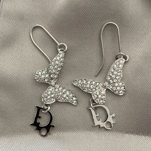 Dior Silver Diamanté Butterfly Earrings
